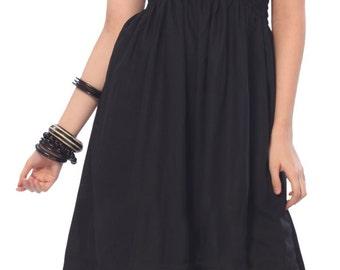 La Leela Solid Color Rayon Partywear Halter Backless Smocked Maxi Midi Women Short Tube VINTAGE Dress Black-121899