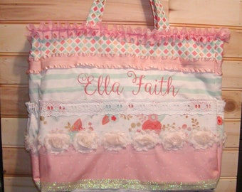Diaper bag, handbag, purse, book bag..Elegant..Add end pocket. Customize to match carseat canopy(see fashionfairytales).
