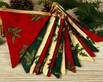 Christmas bunting, Christmas home decorations, traditional Christmas, fabric garland, Christmas party decor, fabric banner, Christmas holly