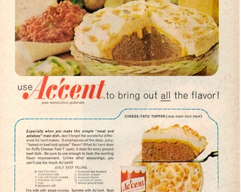 1960s Accent food seasoning vintage magazine ad  kitchen decor  1709