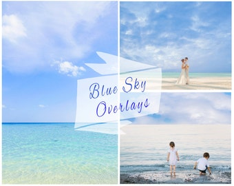 Blue Sky Photoshop Overlays, Sky Overlays, Clouds, Pastel Sky, Blue Sky Replacement, Sky Backdrop, Digital Backdrop, Instant Download