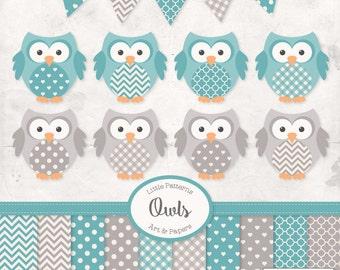 Premium Owl Clipart, Vectors & Digital Papers in Vintage Blue - Vintage Owl Clip Art, Owl Vectors, Pattered Owls, Baby Owls