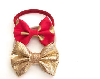 Bows - Red and Gold, baby bows, now headbands, Valentine's Day, nylon headbands