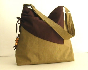 Sale - Khaki Water Resistant Nylon Bag - Shoulder bag, Diaper bag, Messenger bag, Tote, Women - BROOKE