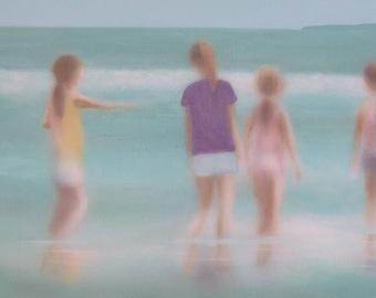 Original Summer Beach Painting, Figurative Art