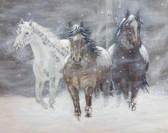 Horse Painting - Appaloosa Horses in the Snow