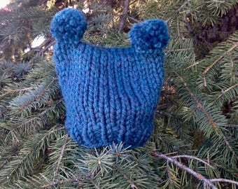 Child's Double Pompom Knit Toque – Teal Blue