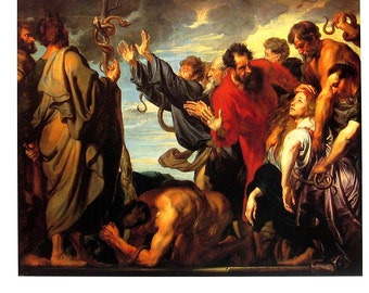 Moses and the Brazen Serpent - Anthony van Dyck - Flemish Painter - Masterpiece Painting - 1994 Vintage Print Reproduction - 12 x 9