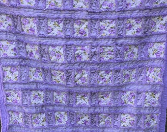 """Lavender and Cream With Purple Flowers Window Pane Rag Quilt 65""""x84"""" Twin Size, Purple, Reversible, Vintage Fabric, Flannel"""