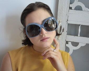60s Sunaire Large Mod Pop Sunglasses Frames Unisex Vintage 1960's Blue Grey Frames Italy #M889 DIVINE (EB)
