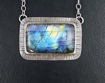 Labradorite Necklace, blue silver, blue flash, sterling silver, labradorite, blue stone necklace, blue labradorite, michele grady, necklace