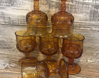 CLEARANCE SALE Vintage Amber Indiana Glass King's Crown Cordial Goblets, Thumbprint Pattern, Mid Century, Retro Glass