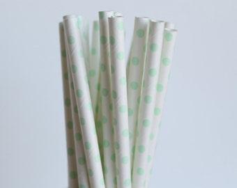 Mint Green Polka Dot Paper Straws-Mint Green Straws-Polka Dot Straws-Wedding Straws-Party Straws-Mason Jar Straws-Shower Straws-Paper Straws