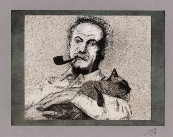 Natural sand painting 18x24 cm Georges Brassens and his cat