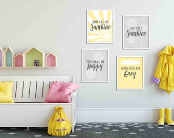You are my sunshine  nursery print set yellow and grey nursery decor gender neutral prints new baby gift