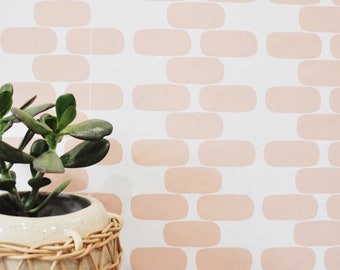 """Wallpaper 24"""" x 48""""  Round Brick Removable wall paper tile - Wall Paper"""