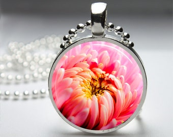 Pink Flower Bloom Nature Photography Round Pendant Necklace with Silver Ball or Snake Chain Necklace or Key Ring