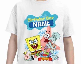 Sponge bob  Birthday t-shirt-Pokemon birthday shirt