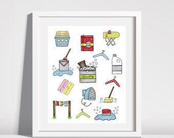 Digital Download Printable Art Laundry Room Illustration Print Wash Room Decor Laundry Room Art Laundry Room Decor Laundry Room Wall Art