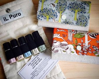 Essential oil roll on set & handmade pouch