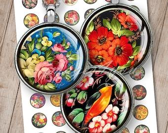 Folk Art bottle cap images for pendants, earrings 20mm, 18mm 16mm, 14mm 12mm round Digital Collage Sheet circles printable download cabochon