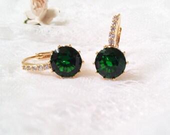 Emerald earrings,  golden earrings, Bride green Earrings, wedding jewelry, emerald earrings, bridal jewellery, CZ earrings, emerald green