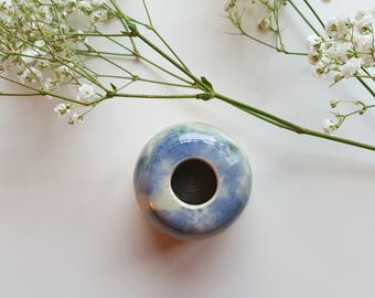 Small Blue and Green Multi Bud Vase