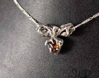 Tree, OOAK silver sterling pendant with amber
