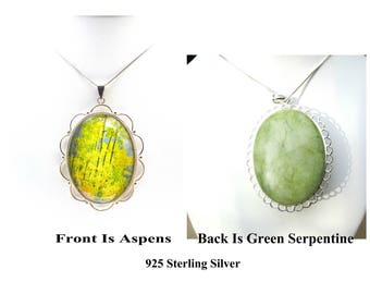 925 Silver Aspen Tree Pendant Necklace, Aspen Jewelry, Mountain Wedding, Statement Jewelry ,Aspen Leaf Necklace, Yellow Mountain Necklace