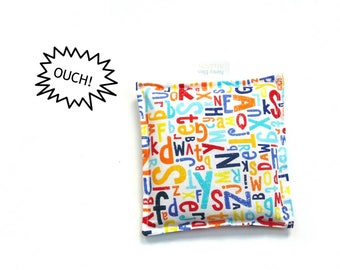 Boo boo bag reusable natural cold therapy compress freezer pack, rice bag, ice pack, alphabet print fabric