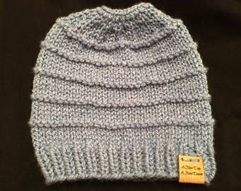 Hand Knit Messy Bun Hat or Pony Tail Hat