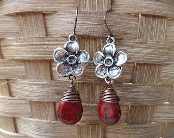 Flowers Earrings Briolette Earrings Copper Earrings Dangle Drop Earrings Flower Jewelry Made in Texas