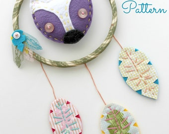 Felt Fox Dreamcatcher. PDF Pattern. Sewing Pattern. Embroidery Hoop Art. Nursery Decor. Baby Shower Gift. Digital Pattern. Boho. Woodland.
