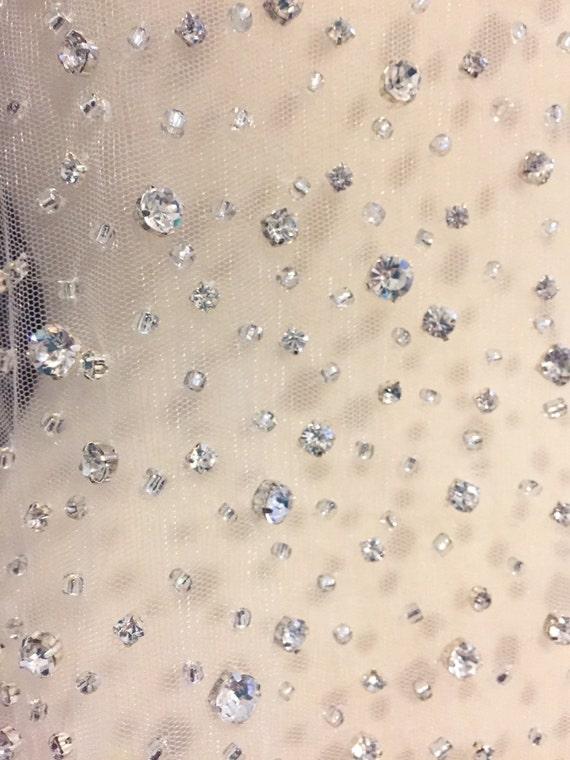 Nude rhinestone beaded tulle fabric rhinestone fabric for Wedding dress fabric samples