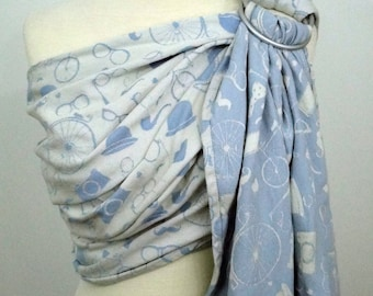 Baby monkey wrap conversion ring sling- Hipster - WCRS, ivory, white, pale blue, baby blue