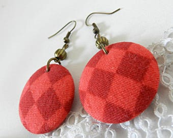 Drop Earrings in Checkered Fabric Orange and Red