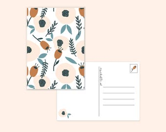 Autumn card with flowers