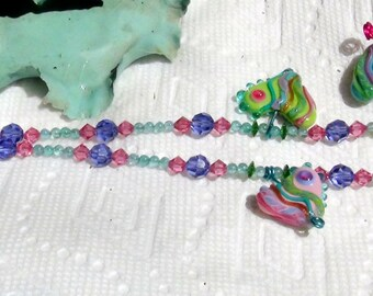 Fantasy Pastel Heart Necklace Sarah Hornik Lampworked Focals with Apatite Gemstone Beads