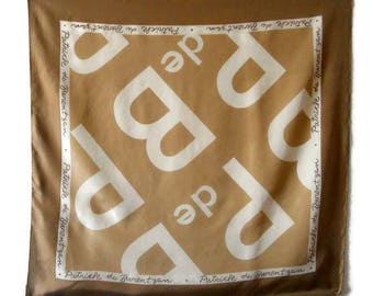 Vintage square silk scarf by Patrick Barentzen Logo Silk shawl Italian silk scarf Women accessories