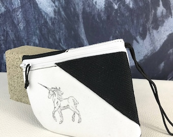 SALE Small Unicorn Stamp Black and White Pouch