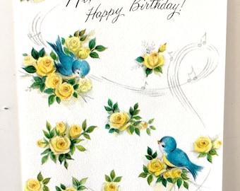 Vintage 1950s Floral Birthday Card Vintage Old Birthday Card Blue Bird Birthday Card