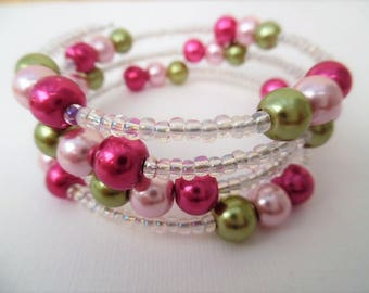Hot Pink Bracelet, Wrap Bracelet, One Size Bracelet, Any Size Bracelet, Pearl Bracelet, Wedding Theme, Bridesmaids Gift, Bridesmaids Jewelry