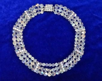 Faux multi-strand necklace faceted plastic beads & rhinestones vintage