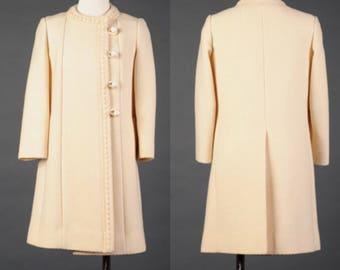 Vtg 1960s cream colored pea coat, ivory wool coat by YouthCraft, MOD winter coat sz M/L
