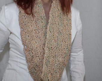 Hand Crochet One of a Kind Soft Shells Cowl/Infinity Scarf in Cream