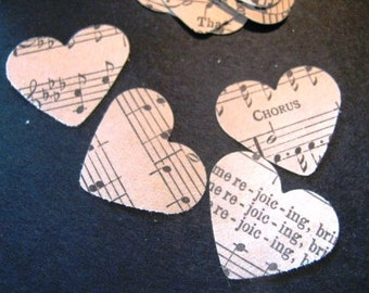 1,000 heart confetti for vintage sheet music and hymnals