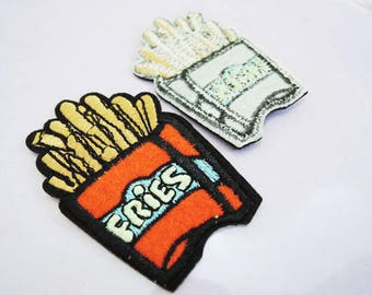 Fries Patches - Iron on or Sewing on Patch Food Potato French Fries Patches Red Yellow Patch Embellishments Embroidery fonts