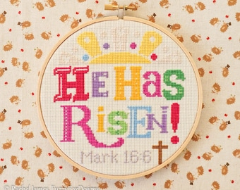 Easter Cross Stitch Pattern PDF | He Has Risen | Christian Cross Stitch | Easy | Modern | Beginners Counted Cross Stitch | Instant Download