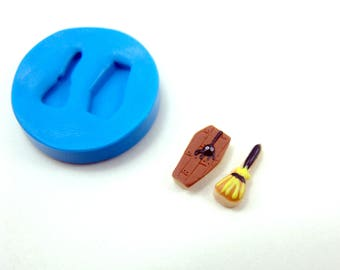 Flexible Silicone Mold // Dollhouse Halloween Coffin & Witch's Broom Cookies // 1/12 Scale Food and Food Jewelry Projects