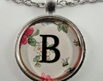 """Initial """"B"""" Necklace -- Spring pattern Personalized Letter B Necklace, Wedding Necklace, Bridesmaid Necklace, Hen Night Necklace, Friendship"""
